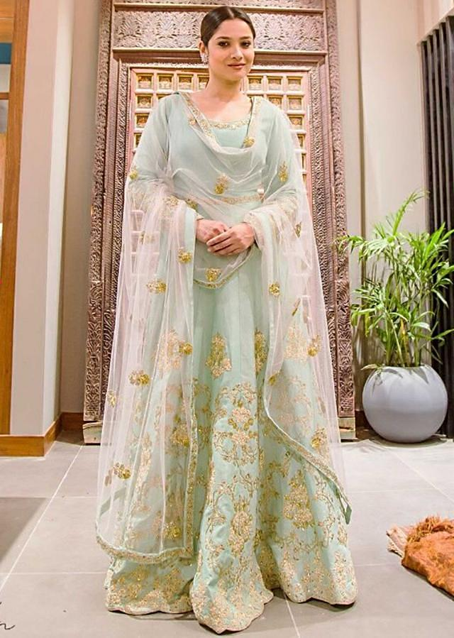 Ankita Lokhande in Mint Blue anarkali suit in zari and thread embroidery work only on Kalki