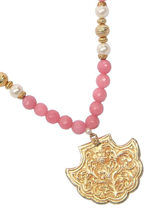 Antique gold locket with pink beads only on Kalki