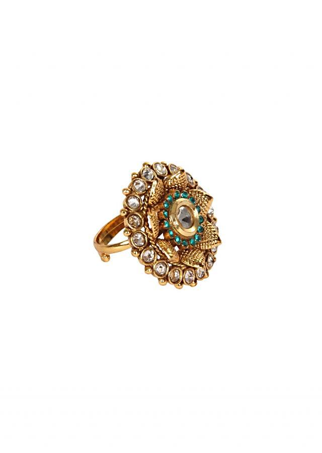 Antique Finger Ring Studded With Premium Zircons