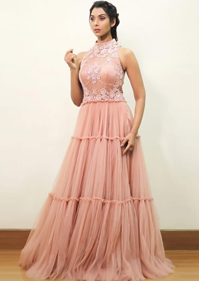 Anupriya Goenka In Kalki Blush Pink Gown With Hand Embroidered Bodice And Tiered Pattern