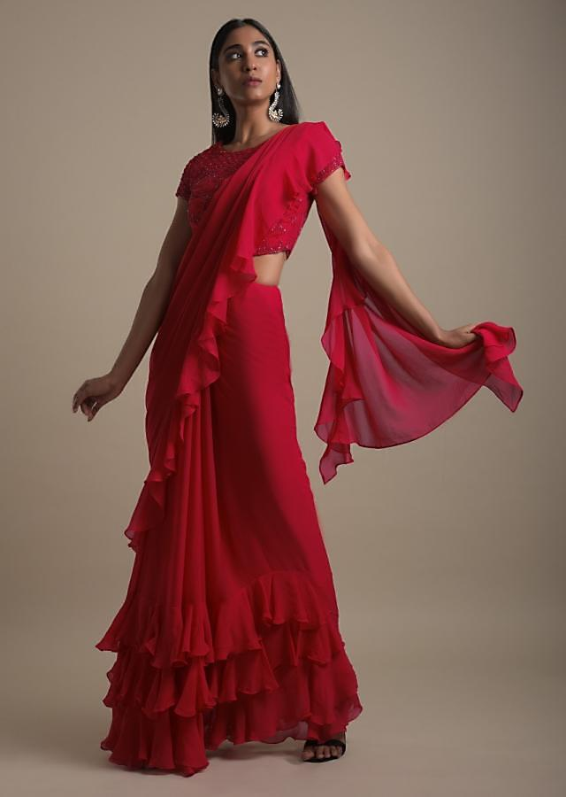 Apple Red Ruffle Saree In Georgette With Embellished Blouse Online - Kalki Fashion