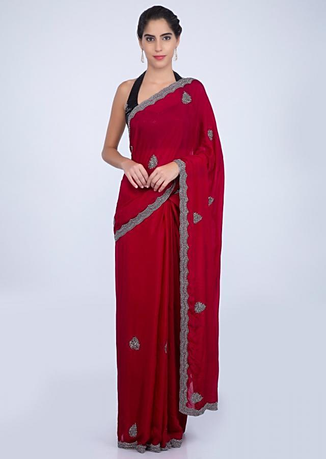 Apple red satin chiffon saree with butti and scallop embroidered border only on kalki