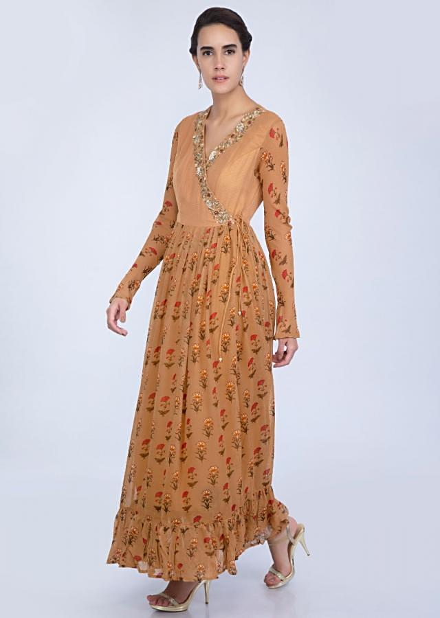 Apricot brown front tie up georgette tunic dress with angrakha style bodice only on Kalki