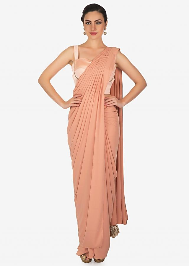 Apricot Pink Georgette Saree Gown with Jacket Only on Kalki