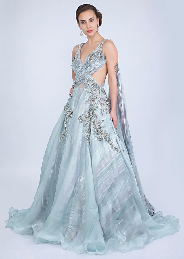 Aqua blue organza gown with over lapping ruching bodice only on Kalki