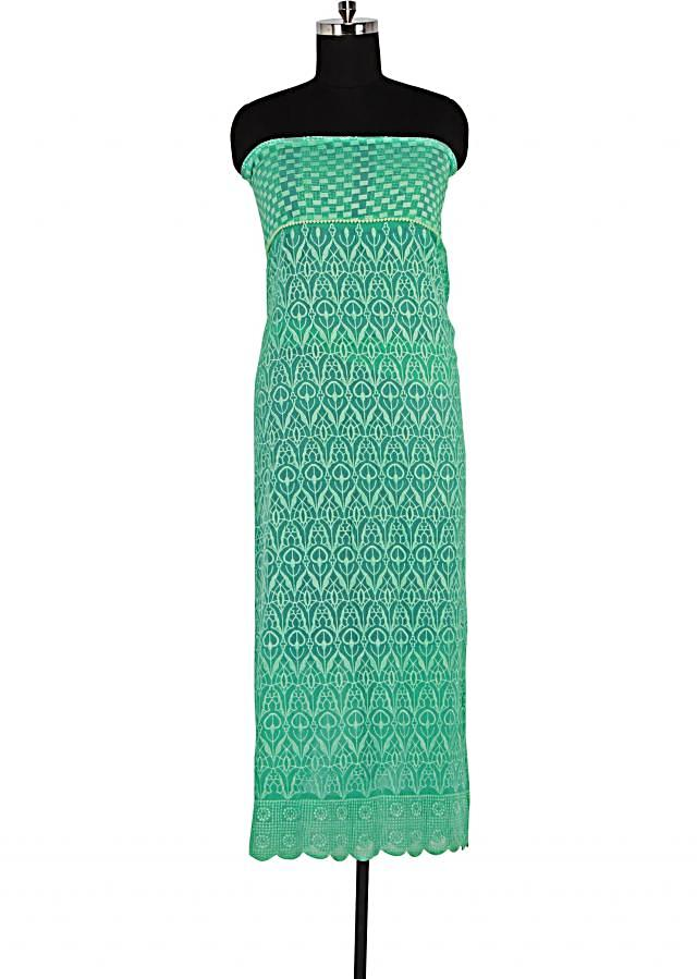 Aqua green unstitched suit featuring in thread embroidery only on Kalki