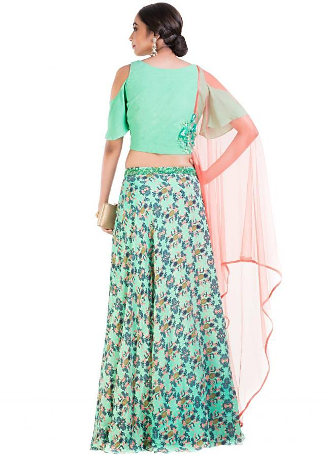 Aqua Green Lehenga Set With Pineapple Print And Attached Dupatta Online - Kalki Fashion