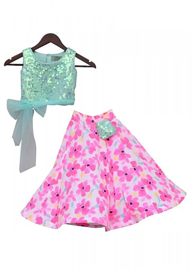 Aqua Soft Sequence Top with Printed Skirt by Fayon Kids