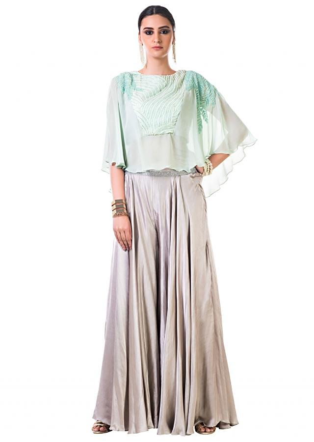 Aqua Green Cape Blouse with Hand Embroidered Silver Cutdana and Moti work with Grey Palazzo Pants
