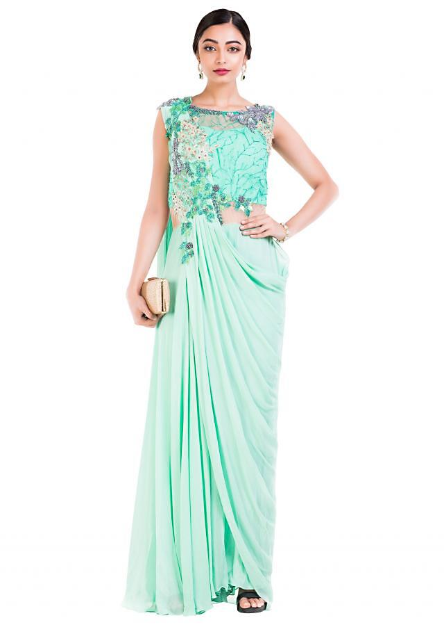 Aquamarine Draped Jumpsuit Saree