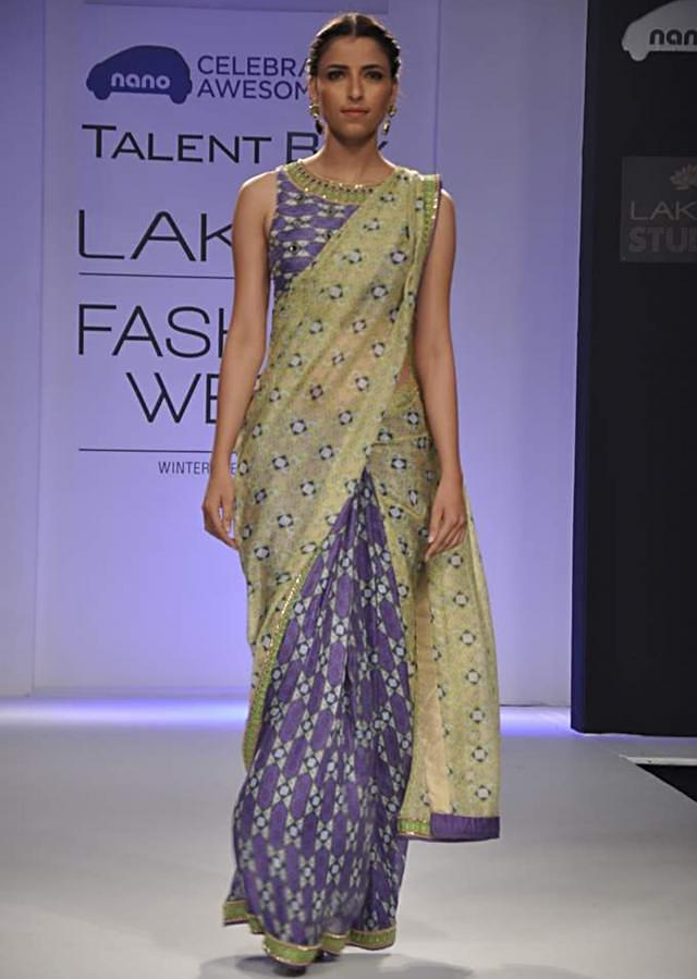 Model walks the ramp in shaded saree with full sleeve printed blouse for Arpita Mehta Talent Box at Lakmé Fashion Week