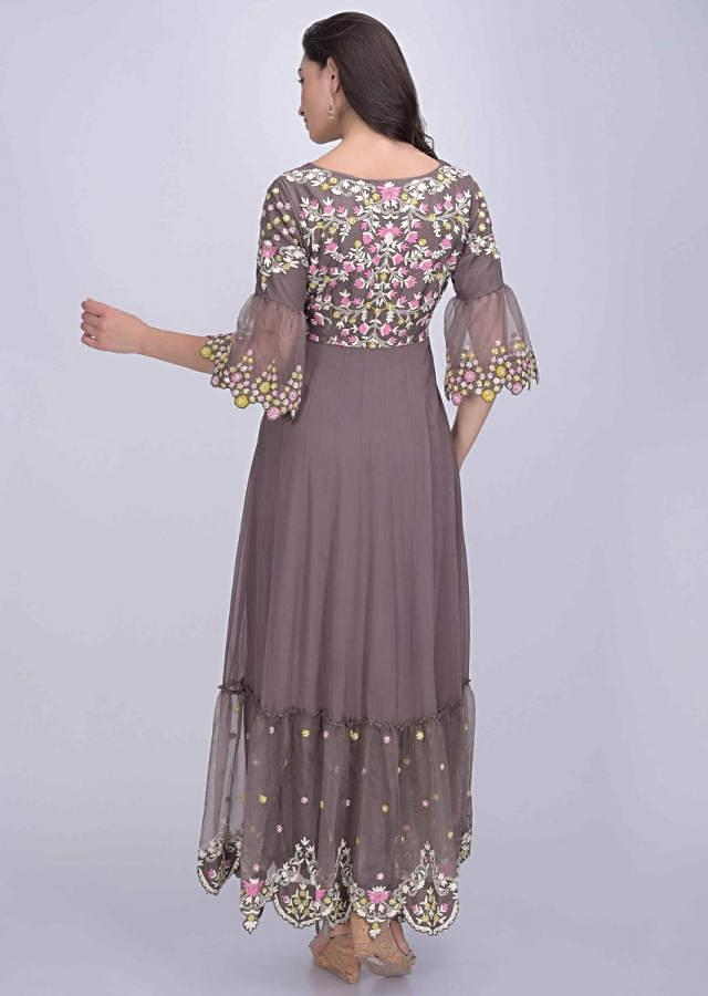 Ash Grey Anarkali Dress In Crepe And Organza With Tiered Hemline Online - Kalki Fashion