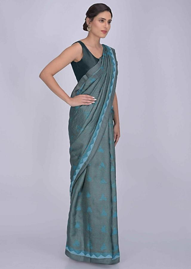 Ashwood Moss Grey And Blue Saree In Tussar Silk With Batik Print Online - Kalki Fashion