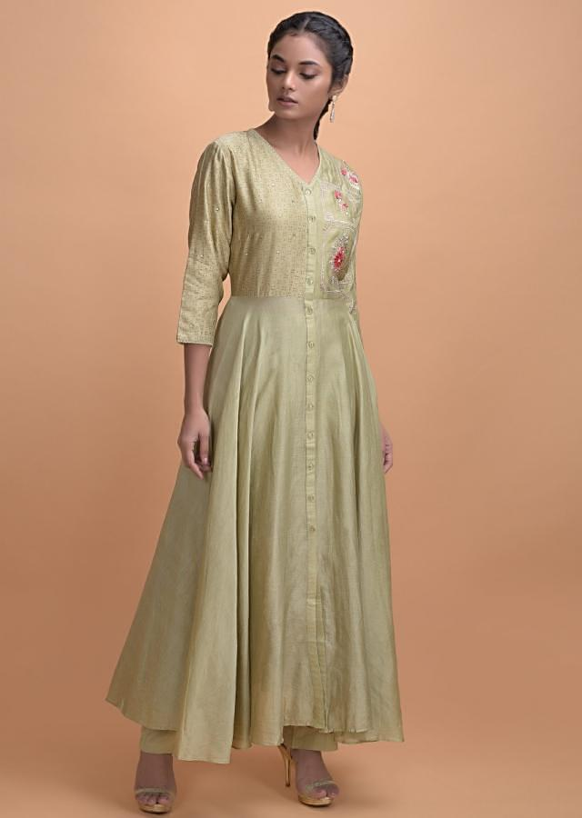 Asparagus Green Flared Suit In Cotton With Foil Print And Embroidery Work Online - Kalki Fashion
