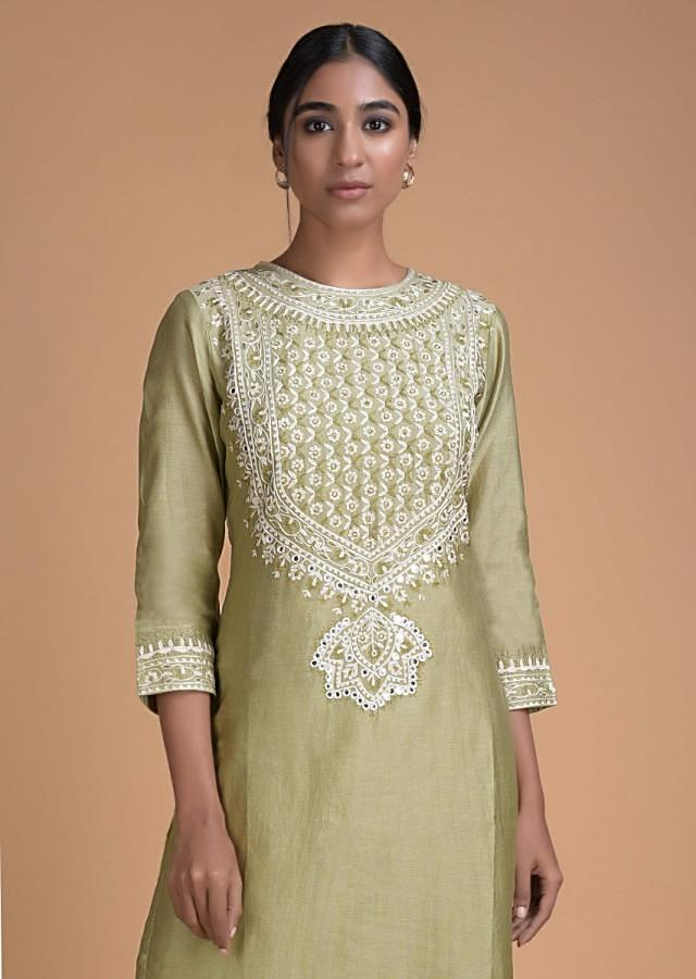 Asparagus Green Straight Cut Suit With Embroidered Bodice And Floral Printed Bottoms Online - Kalki Fashion