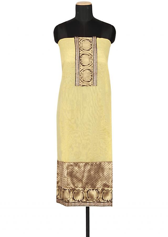 Aspen gold yellow un-stitched cotton salwar-kameez embellished in zari and kundan only on Kalki