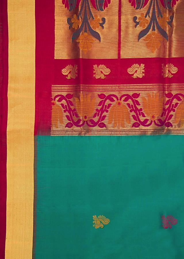 Atoll Blue And Fuschia Red Saree In Silk Online - Kalki Fashion