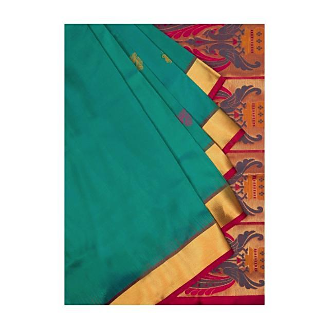 Atoll blue and fuschia red saree in silk only on Kalki