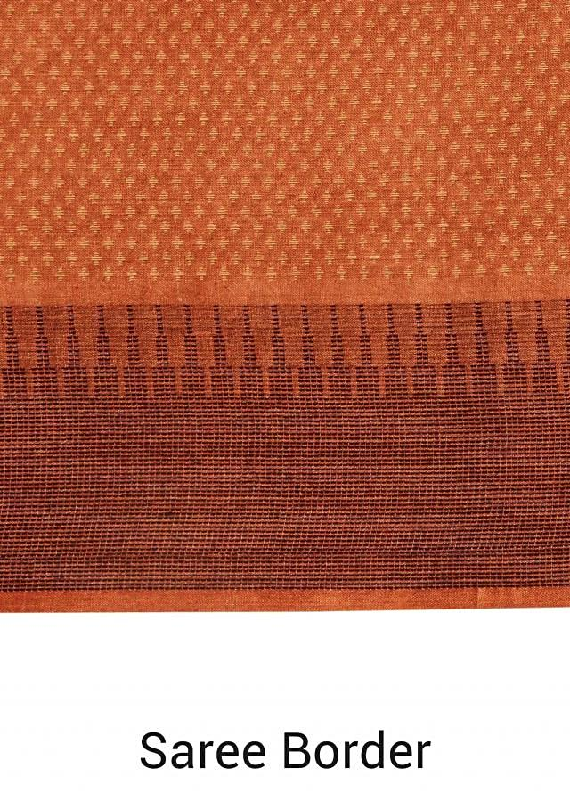 Tawny brown saree with warli embroidery in resham only on Kalki
