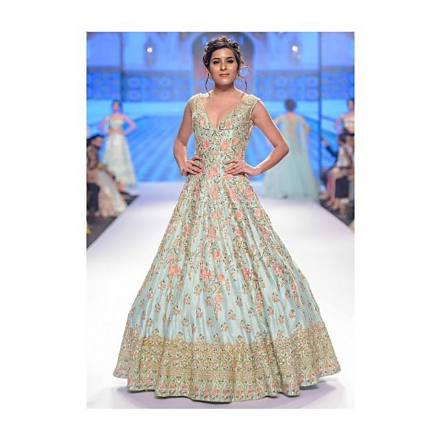 Aviary blue anarkali dress floral , moroccan and geometric embroidery only on Kalki