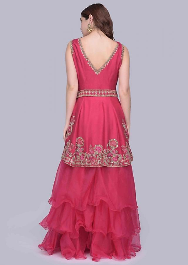 Azalea Pink Palazzo In Organza With A Heavy Embellished Raw Silk Suit Online - Kalki Fashion