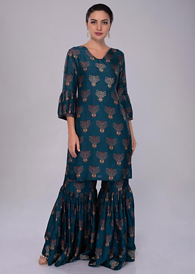 Azure Blue Sharara Suit In Cotton Silk With Print And Embroidered Butti Online - Kalki Fashion