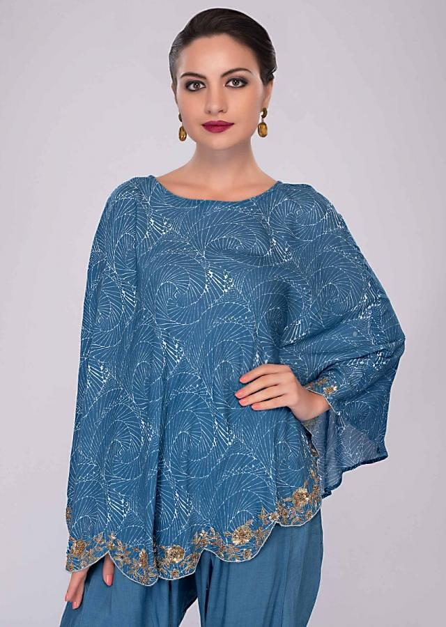 Azure blue dhoti pant paired with cape top in print and scallop border only on Kalki