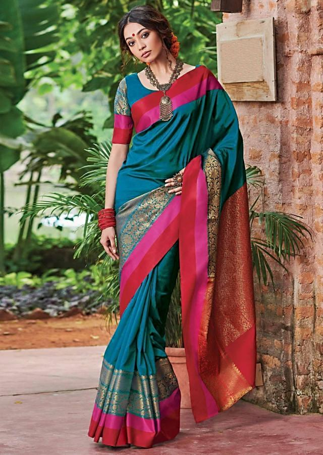 Azure Blue Saree In Silk With Weaved Floral Pattern On The Border And Red Weaved Pallu Online - Kalki Fashion