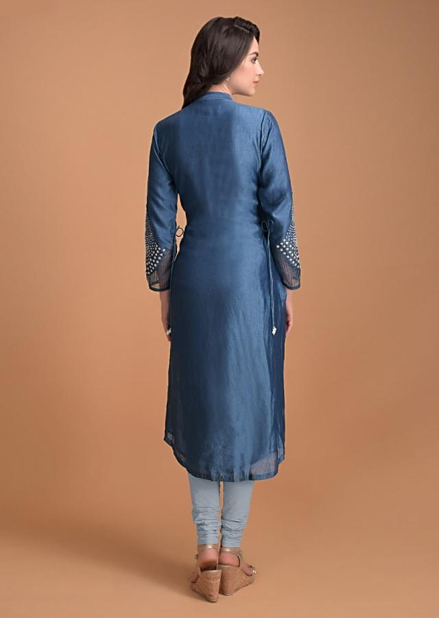 Azure Blue Kurti And Powder Blue Dupatta With Sequins Embroidery Online - Kalki Fashion