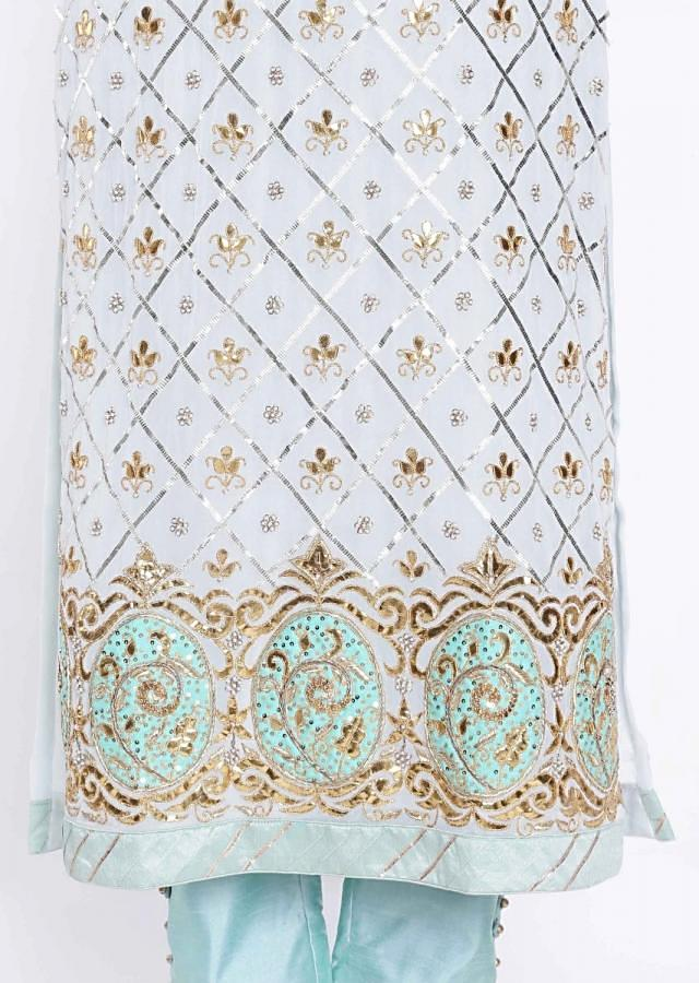 Baby Blue Straight Suit With Gotta Patch Embroidered Butti All Over Online - Kalki Fashion