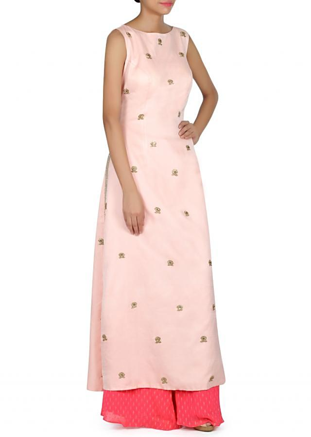 Baby pink straight suit adorn in embroidered butti only on Kalki