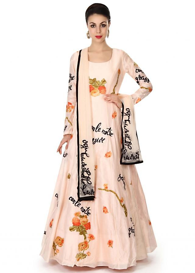 Baby pink anarkali suit in appliqué embroidery only on Kalki