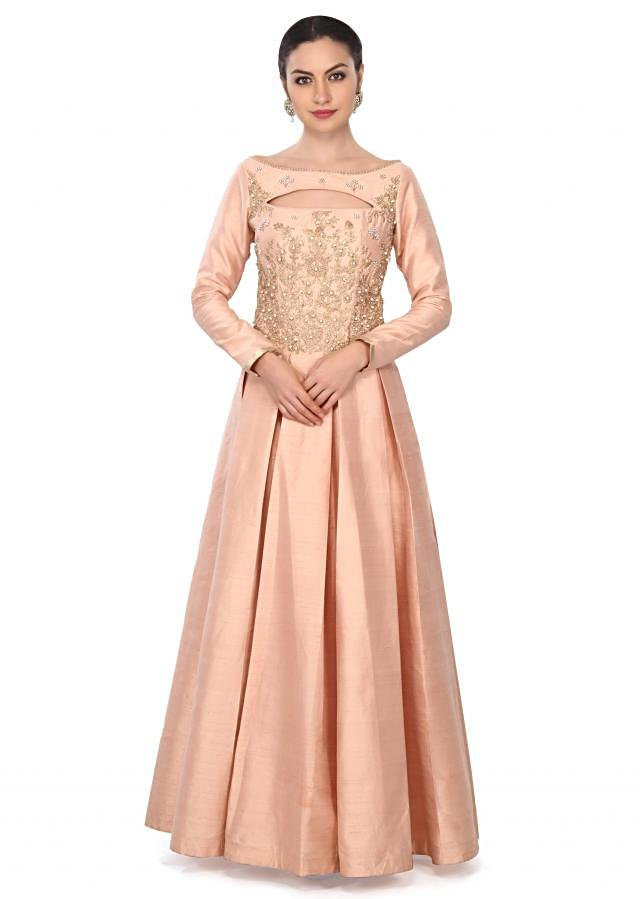 Baby pink anarkali suit in zari and pearl embroidery only on Kalki