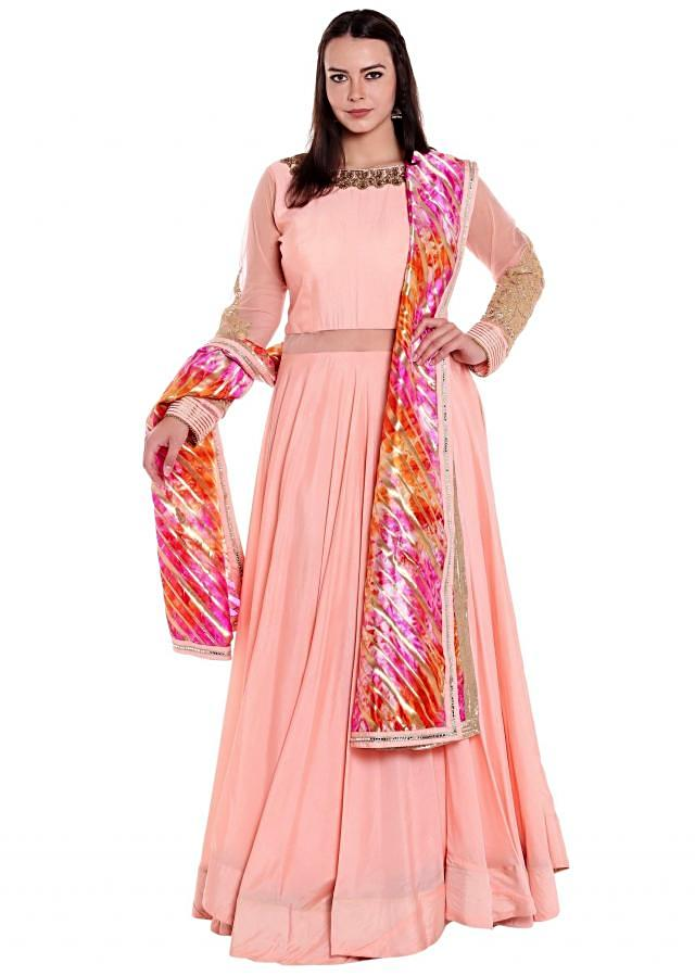 Baby pink anarkali suit with multi color dupatta in tie and dye only on Kalki