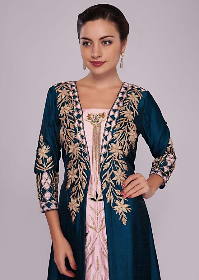 Baby Pink And Peacock Blue Jacket Kurti With Resham And Patch Work Online - Kalki Fashion