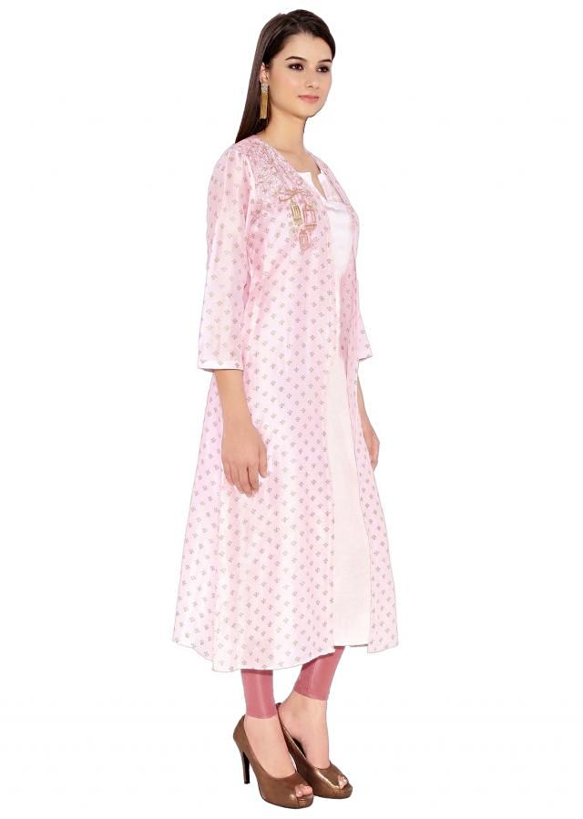 Baby Pink Cotton Kurti With Printed Jacket And Plain Lining And Beautifully Embroidered Cage And Trees On Shoulder Only On Kalki