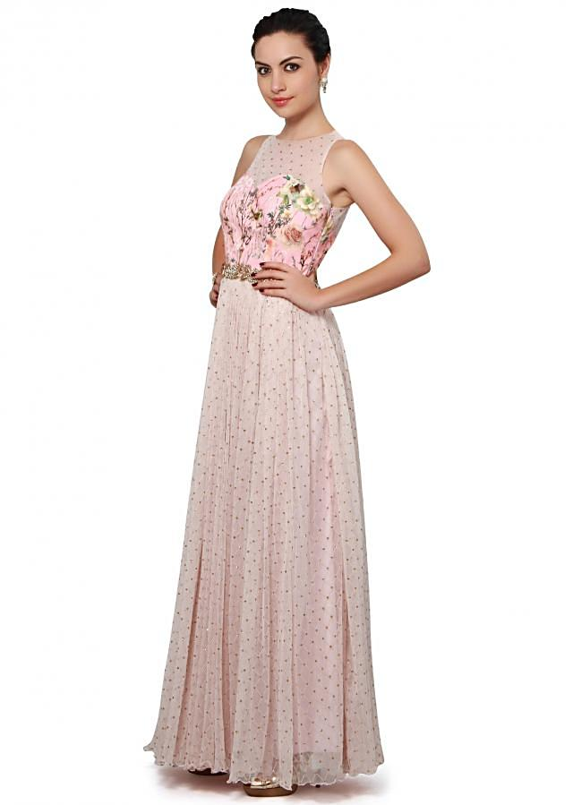 Baby pink dress enhanced in floral print and sequin only on Kalki