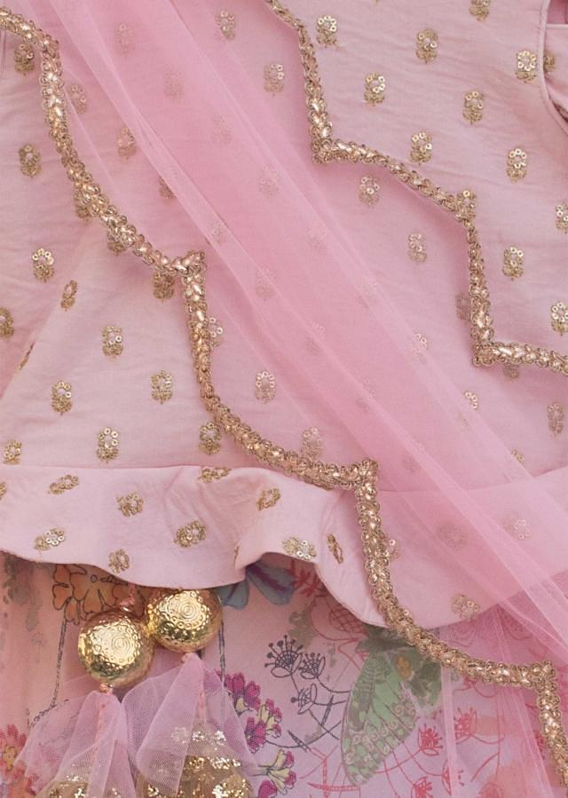 Baby Pink Embroidery Choli with Printed Lehenga by Fayon Kids