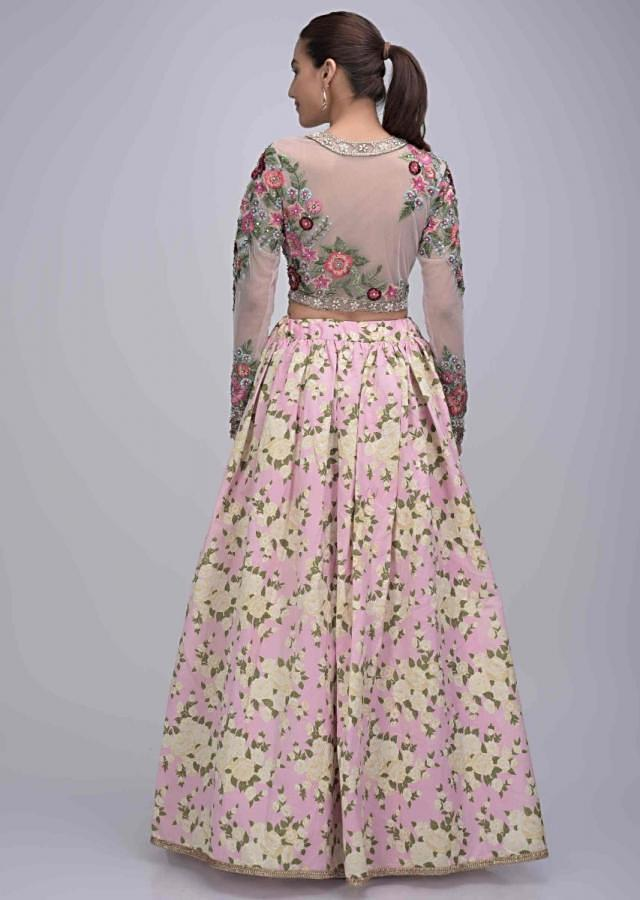 Baby Pink Lehenga With Floral Print And Embroidered Net Blouse Online - Kalki Fashion