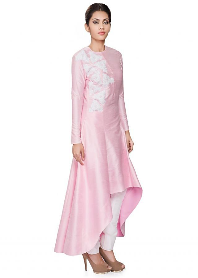Baby pink front short back long tunic with white embroidery