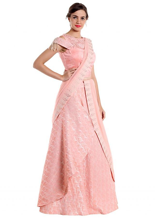Baby pink gown with brocade work and kundan only on Kalki