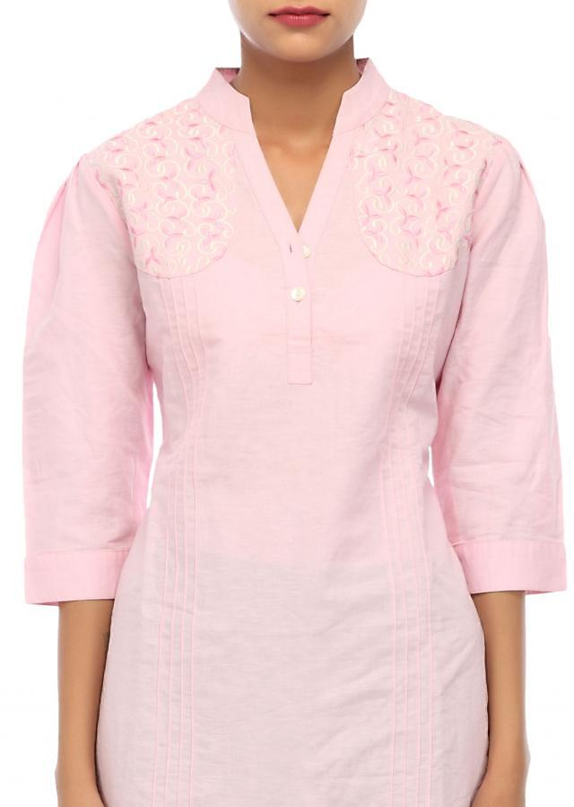Baby pink kurti embellished in resham embroidery only on Kalki