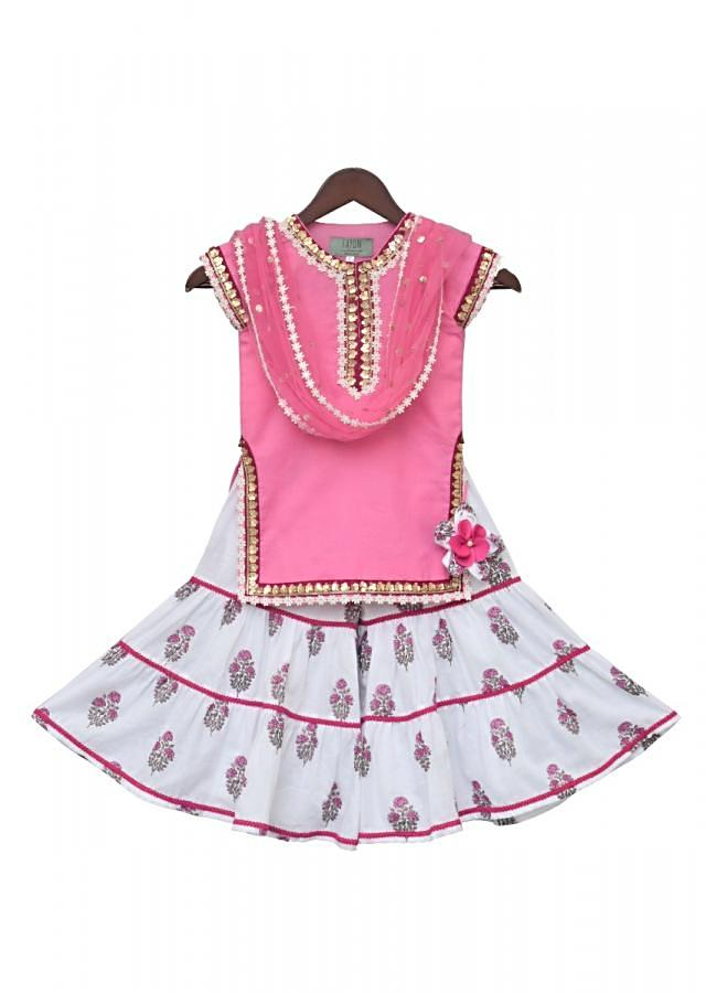 Baby Pink Kurti With Printed Sharara Online - Kalki Fashion
