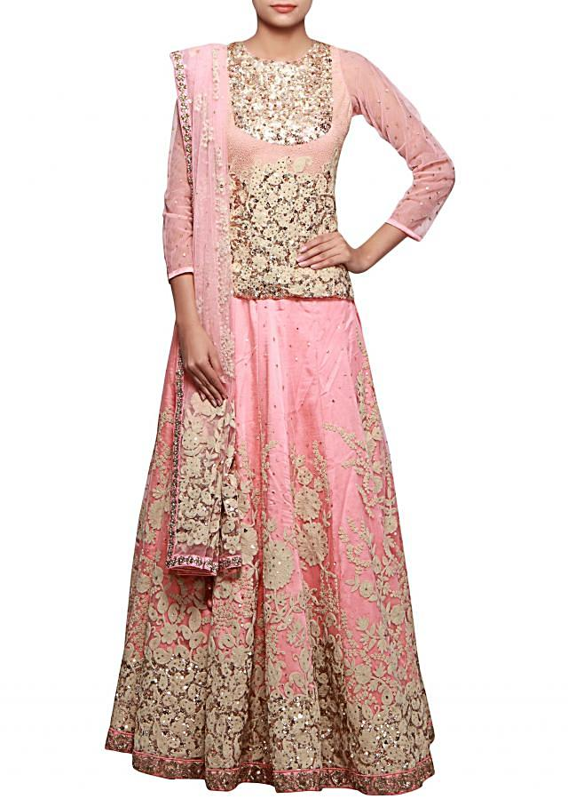 Baby pink lehenga adorn in thread and sequin embroidery only on Kalki