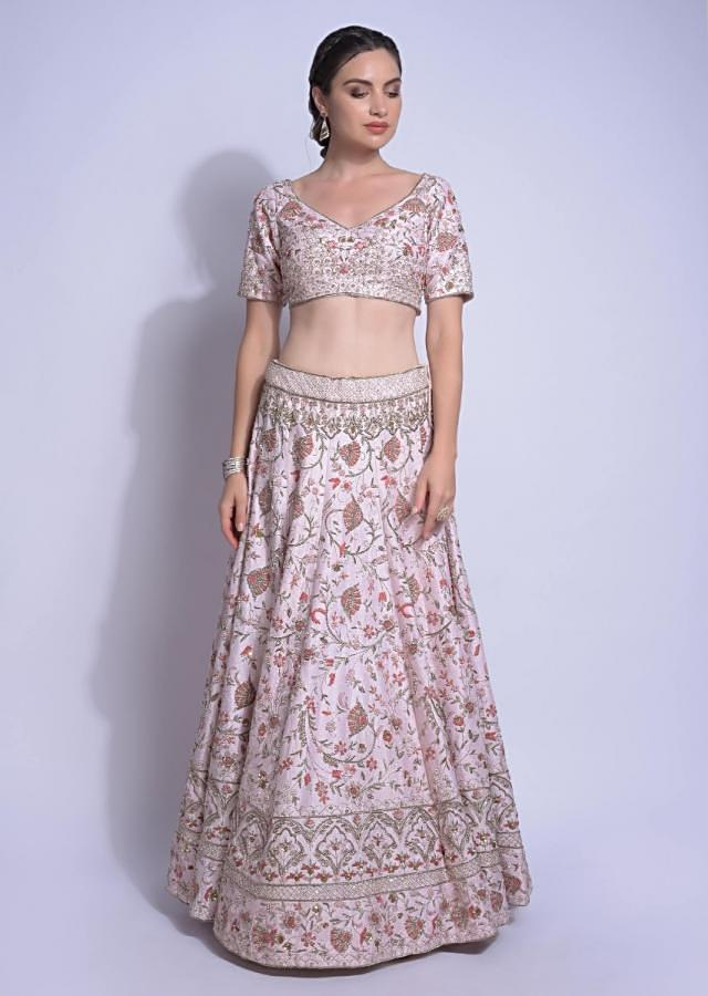 Baby Pink Lehenga Choli In Raw Silk With Embroidered Floral Jaal Online - Kalki Fashion