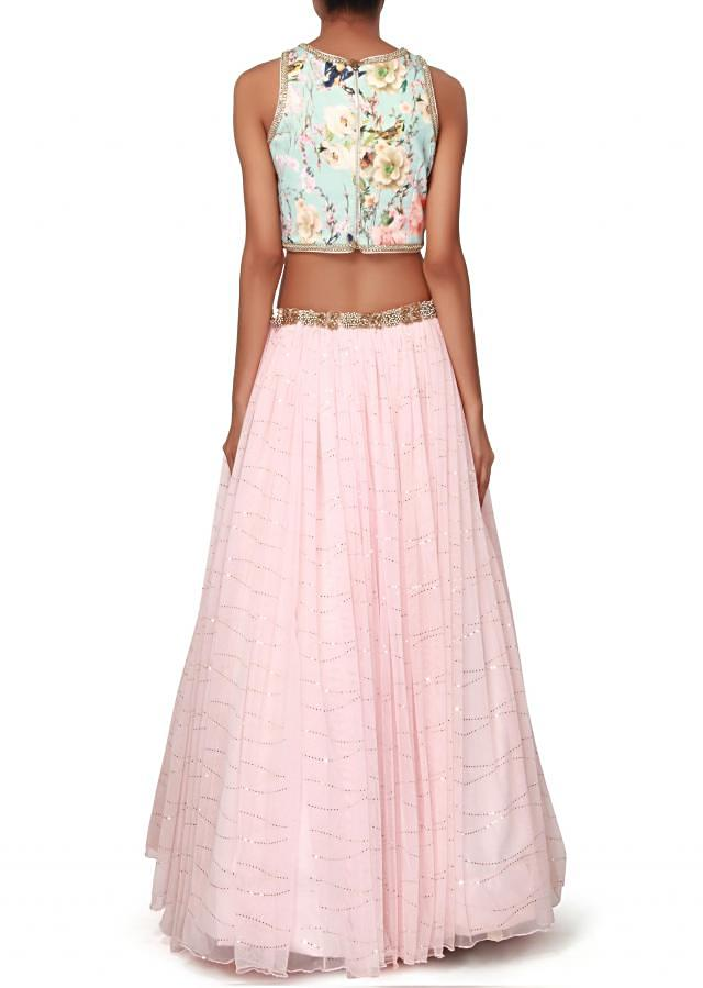 Baby pink lehenga features with printed blouse only on Kalki