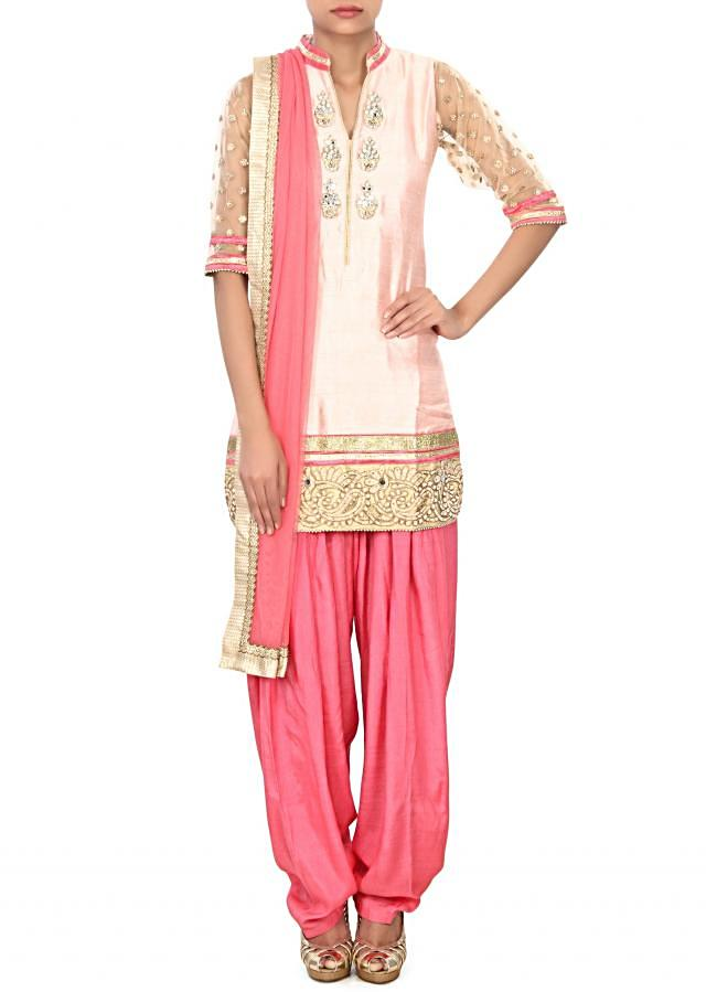 Baby pink salwar suit enhanced in mirror only on Kalki