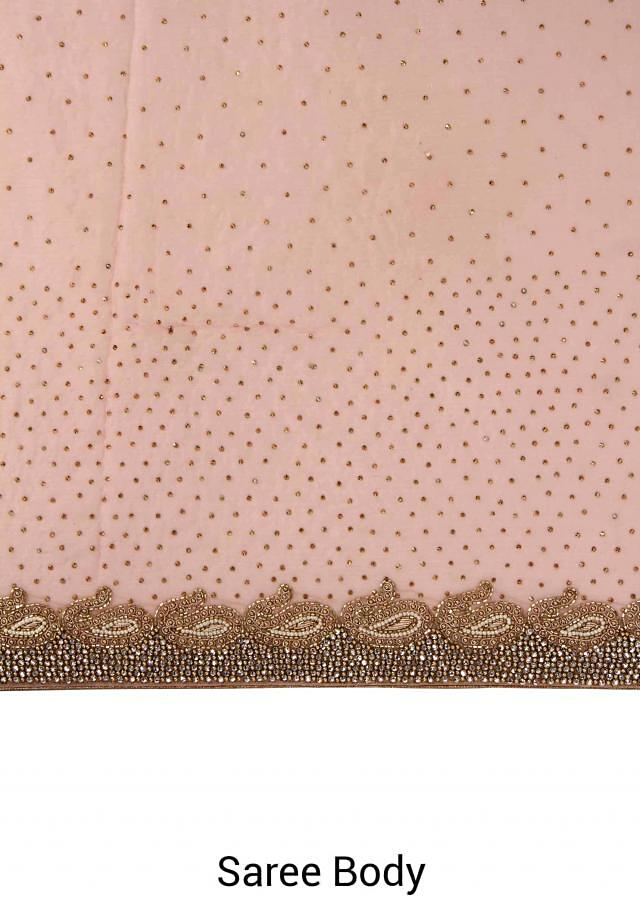 Lilac pink saree adorn in kundan embroidery only on Kalki