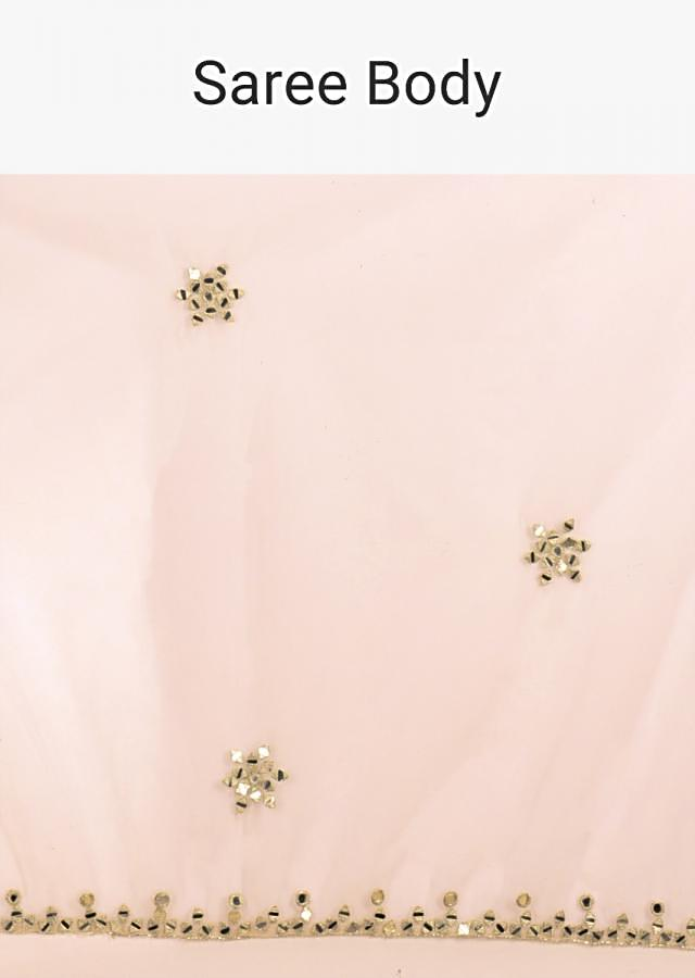 Baby Pink Saree In Net With Mirror Abla And Zari Buttis In Floral Motifs Online - Kalki Online