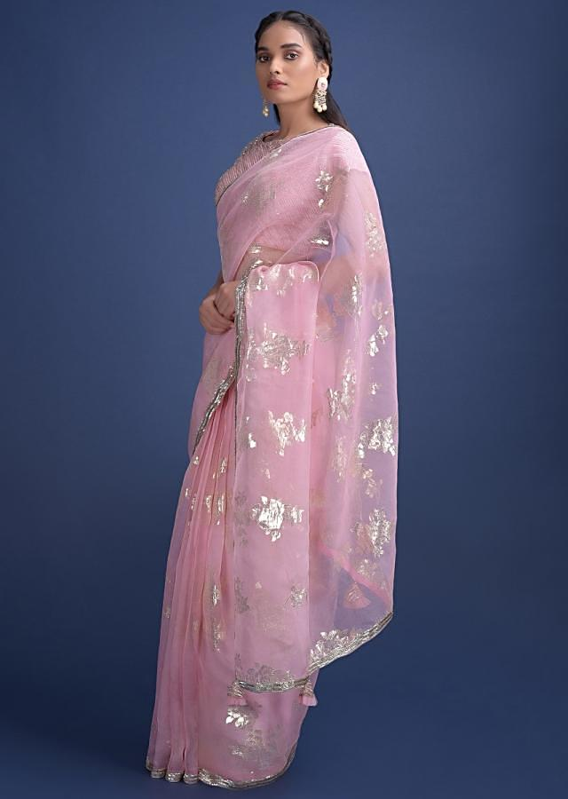 Baby Pink Saree In Organza With Weaved Floral Motifs And Embellished On The Border Online - Kalki Fashion